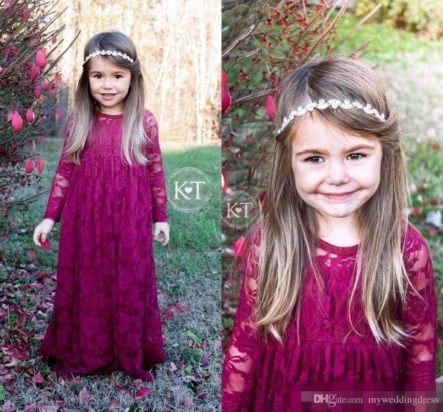 f426eba8d Vintage Burgundy Lace Flower Girls Dresses Long Sleeves 2017 Cheap Little  Kids Birthday Party Gowns Boho