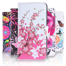 Cartoon Pictures Leather Case for LG Optimus L5II L5 II 2 Dual E455 L5ii E 455 Flip Wallet Cover With Card Holders Phone Case