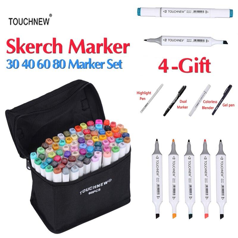 TOUCHNEW 30/40/60/80 Colori Art Marcatori Dual Head Sketch Marker Set A Base di Alcool Migliore Per disegno Manga Disegno Rifornimenti di Arte