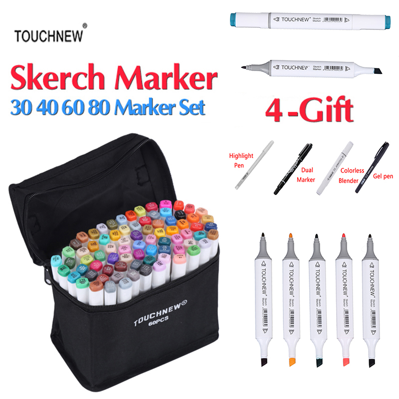 TOUCHNEW 30/40/60/80 Colors Art Markers Dual Head Sketch Alcohol Based Marker Set Best For Drawing Manga Design Art Supplies sketch marker pen 218 colors dual head sketch markers set for school student drawing posters design art supplies