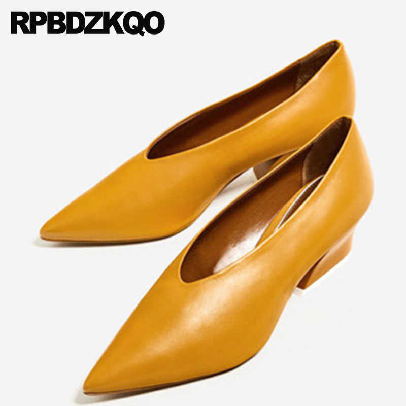 High Quality Designer Shoes Brand Genuine Leather Plus Size Medium Heels Chunky 33 Pointed Toe Yellow Pumps Winkle Picker Ladies цена 2017