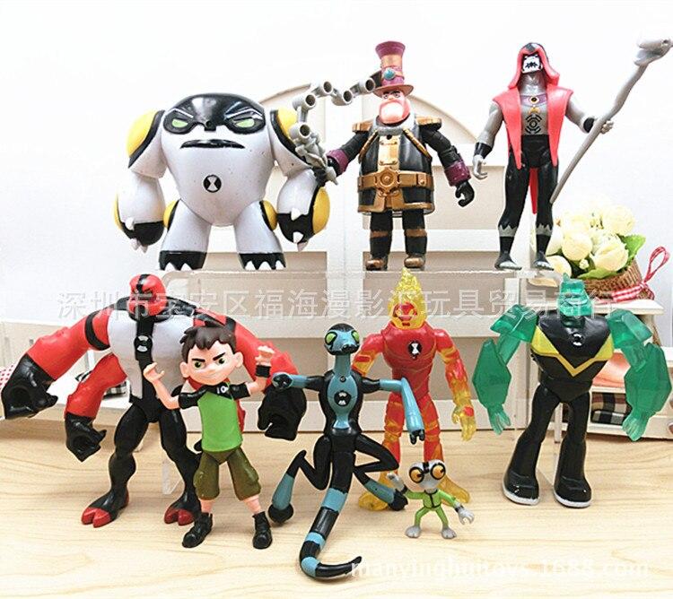 9 pces conjunto ben 10 anime figuras de ação crianças meninos brinquedos para crianças figurinhas modelo