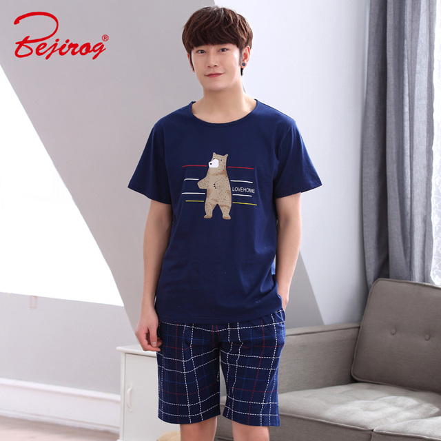 Bejirog Nightwear Men Pajamas Set Cotton Sleepwear Cool Bear Short Sleeved  Sleep Clothing Casual Nighties Summer 2f592072d