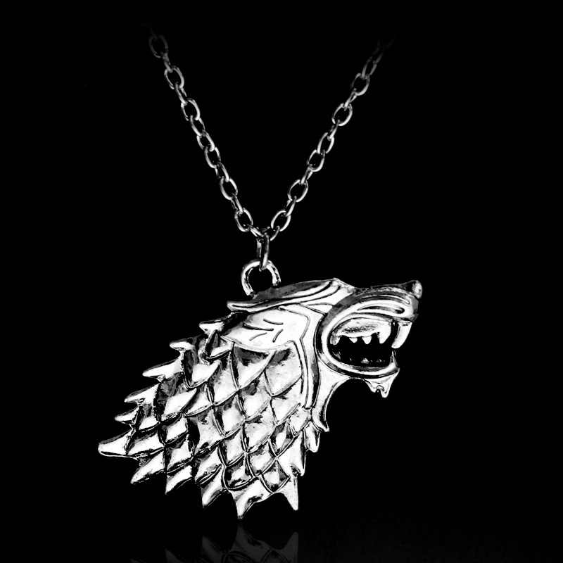 game of thrones necklace song of ice and fire vintage stark dire wolf antique silver pendant for men and women wholesale