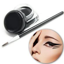 1Pc Fashion black cosmetic pencil makeup + black eyeliner waterproof liquid eyeliner shadow makeup brush Gel BO