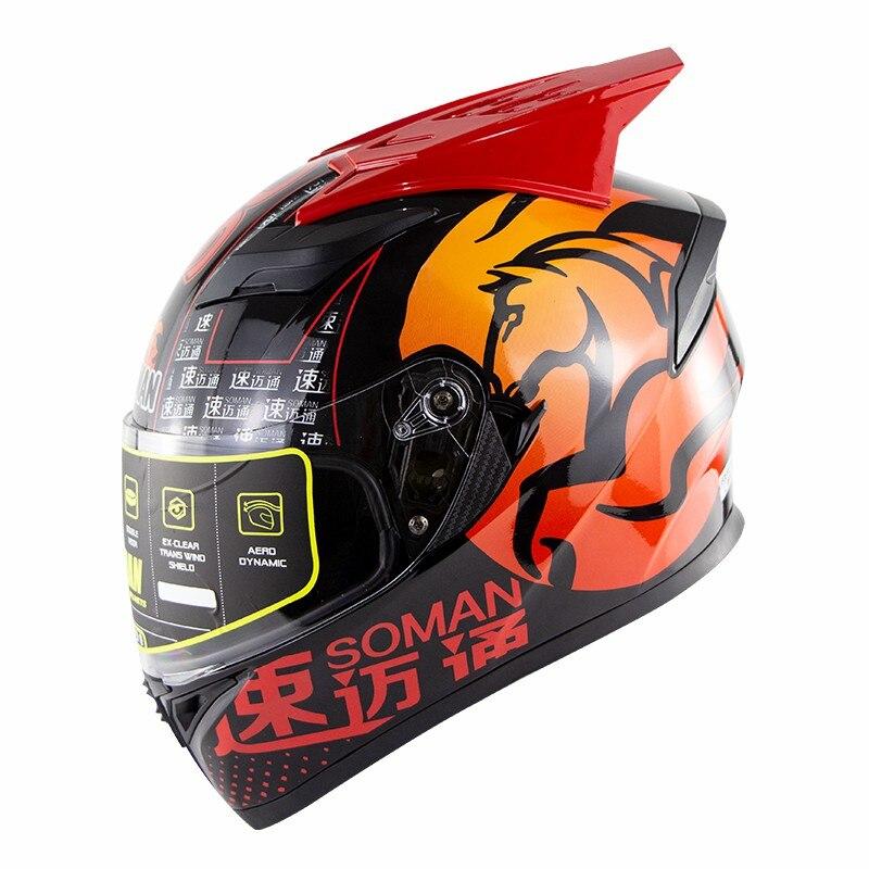 SOMAN 960 ECE Moto Bike Horn Helm Doppel Visiere Motorrad Radfahren Capacete Spoiler Racing Motorrad Full Face Helm