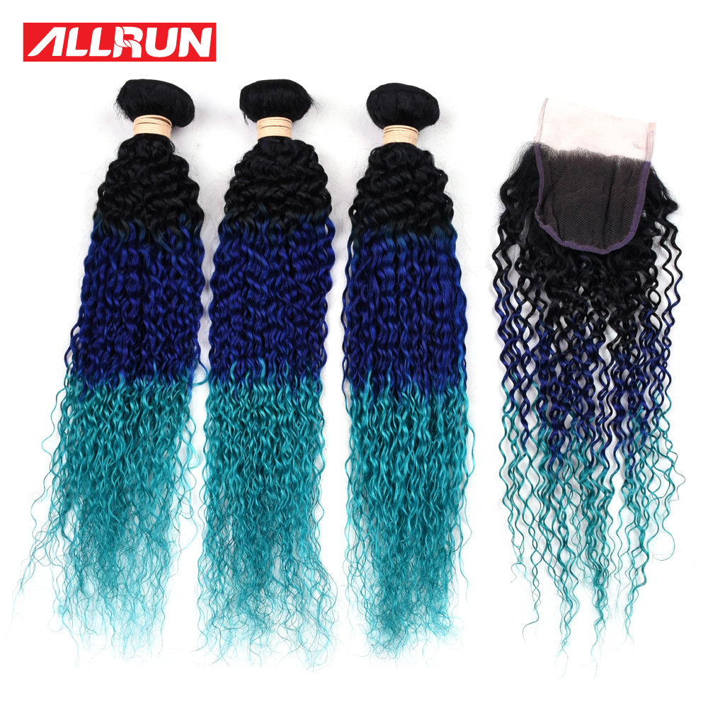 Allrun Pre-colored Kinky Curly Brazilian Hair Weave Bundles 3Pcs Tb/Blue/Lighter Blue Non Remy Human Hair Bundles With Closure