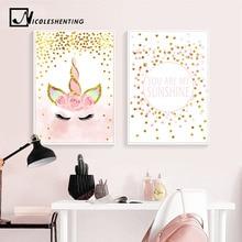 Cartel de unicornio rosa para cuarto de niños, frases artísticas, lienzo impreso, pintura de estilo nórdico, cuadro decorativo para dormitorio de niña