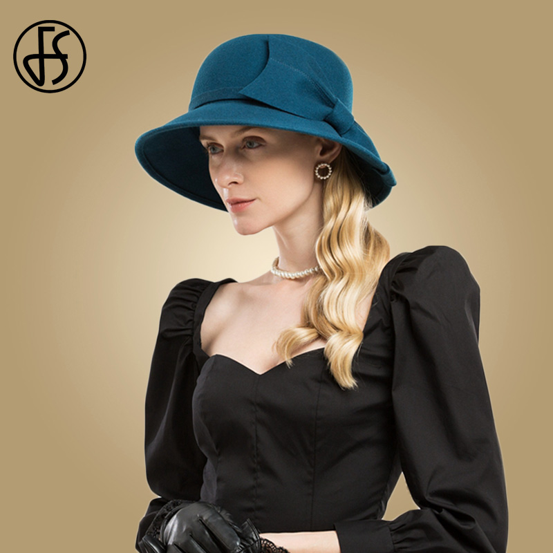 FS Vintage Blue Wool Hats For Women Felt Hats Wide Brim Ladies Bowler Fedora With Bow