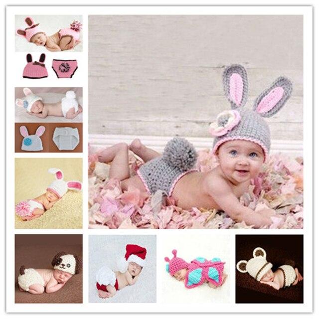 Одежда для новорожденных обувь девочек мальчиков крючком вязаный костюм Фото Опора интимные аксессуары кролик детские шапки