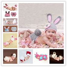 Newborn Baby Clothes Girls Boys Crochet Knit Costume Photo Photography Prop Accessories Rabbit Baby Caps Hats