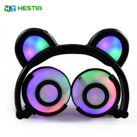 HESTIA Cat Ear Headphones Glowing Bear Gaming Headset Earphone With LED Light For PC Laptop Computer