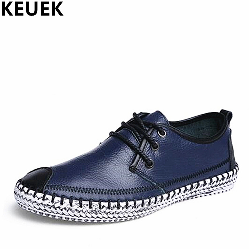 Large size Men Casual shoes Handmade Genuine leather Lace-Up Loafers Non-slip wear Male Flats Driving shoes Fashion Sneakers 02C spring autumn fashion men high top shoes genuine leather breathable casual shoes male loafers youth sneakers flats 3a