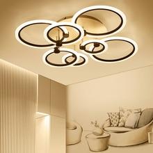 ФОТО rings white black chandeliers LED circle modern chandelier lights for living room acrylic Lampara de techo indoor Lighting