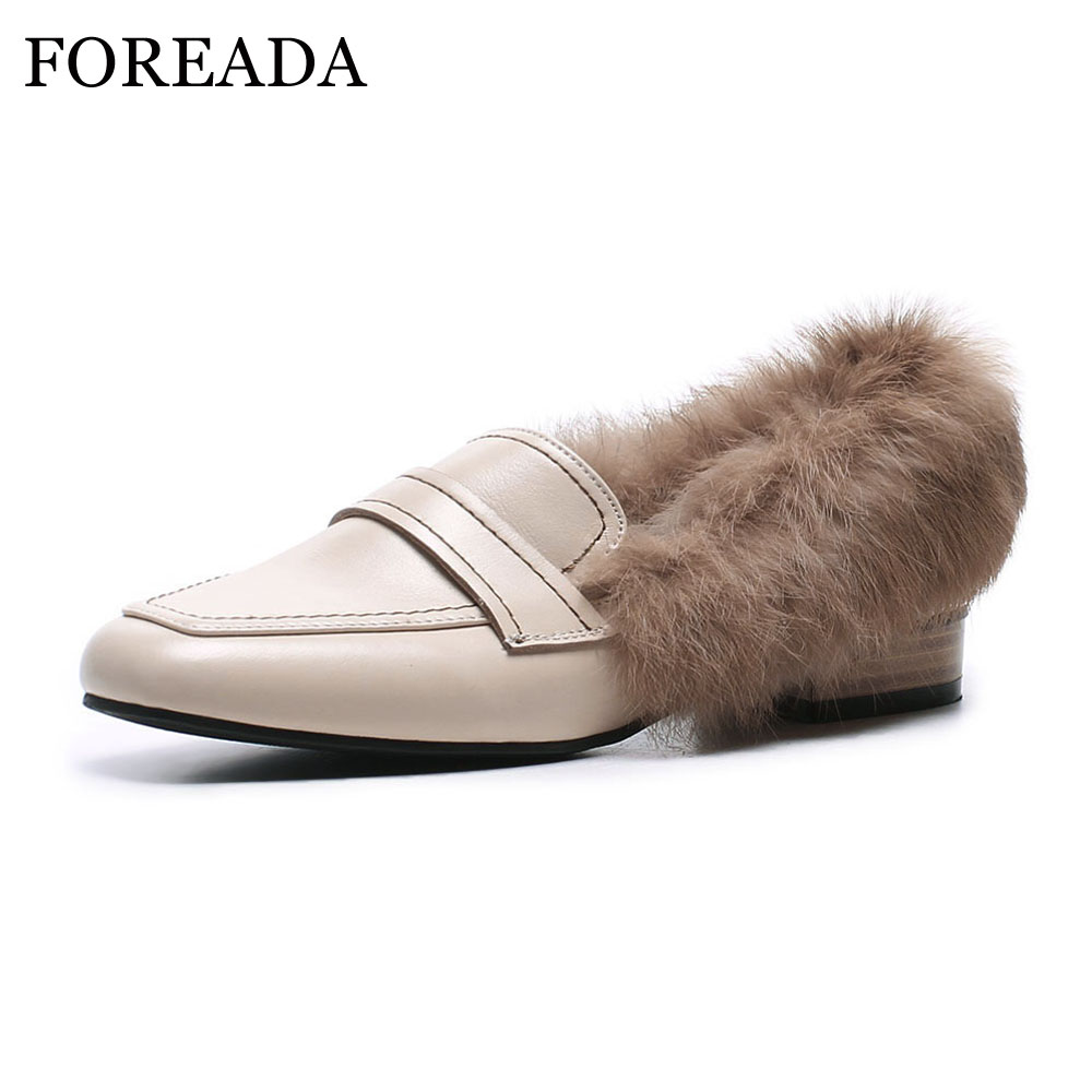 FOREADA Genuine Leather Shoes Women Flats Winter Real Rabbit Fur Warm Boat Shoes Square Toe Loafers Leather Shoes Ladies 2018 women ladies flats vintage pu leather loafers pointed toe silver metal design