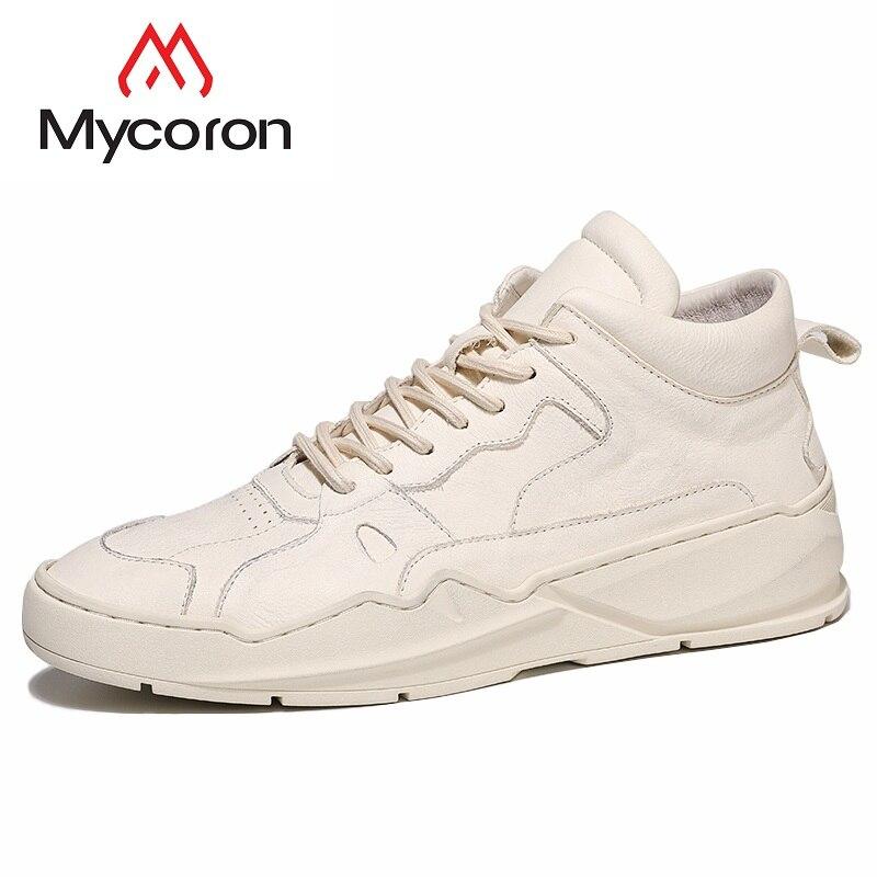 MYCORON/Лидер продаж, осенне зимняя новая обувь с высоким берцем, белые кроссовки, кожаные ботинки на толстой подошве, мужская обувь, Zapatos Deportivos