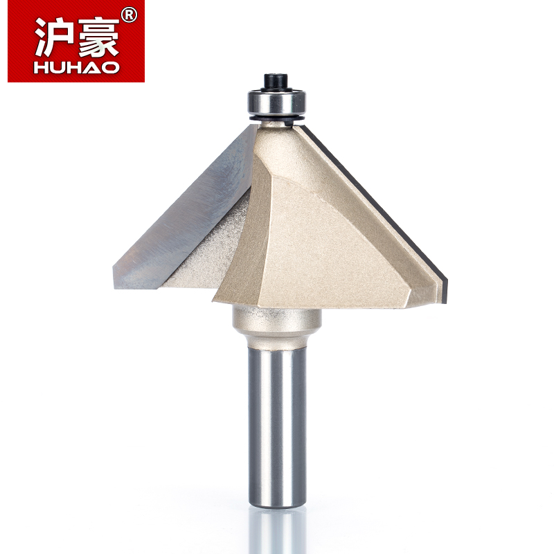 HUHAO 1pcs 1/4 1/2 Shank Chamfer Cutter Router Bits for wood Horse Nose Bit 45 Deg CNC Woodworking Tools two Flute endmill 1pc cleaning bottom router bit cutter cnc woodworking clean bits 1 2 shank dia