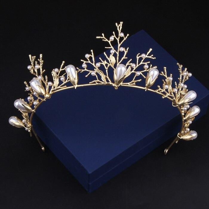 Manwii gold Tiara fashion Queen Princess Golden Crown leaf shape Bridal Weddings Hair Accessories bridal headpiece AQ2010