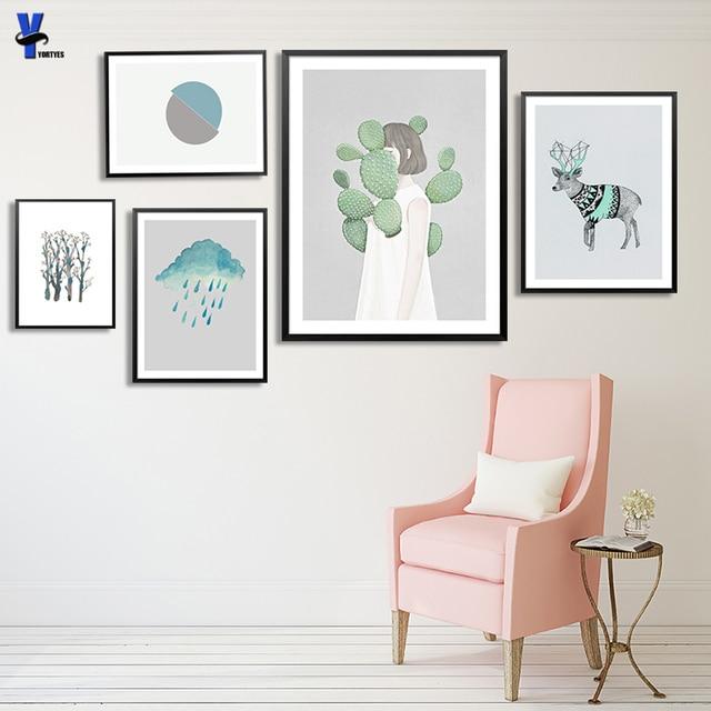 Wall art gambar dicetak art home decor poster dan mencetak karya seni lukisan hewan rusa nordic