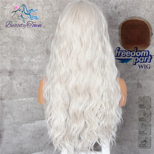 Image 4 - BeautyTown Silvery White 13x6 Big Free Part Futura Heat Resistant No Tangle Hair Daily Makeup Layer Synthetic Lace Front Wig