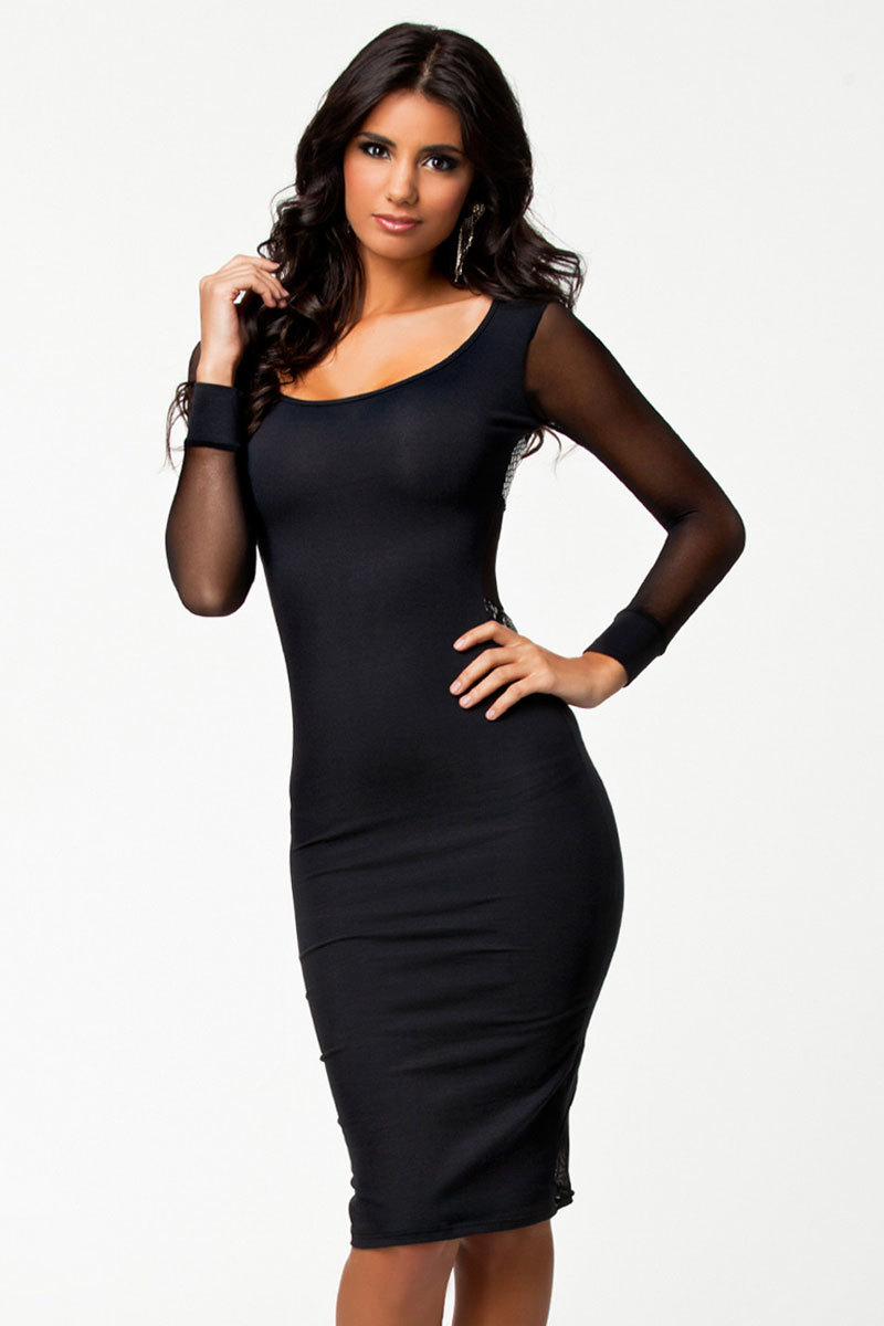 Latest Black Long Sleeves Tight Midi Dress Free Shipping