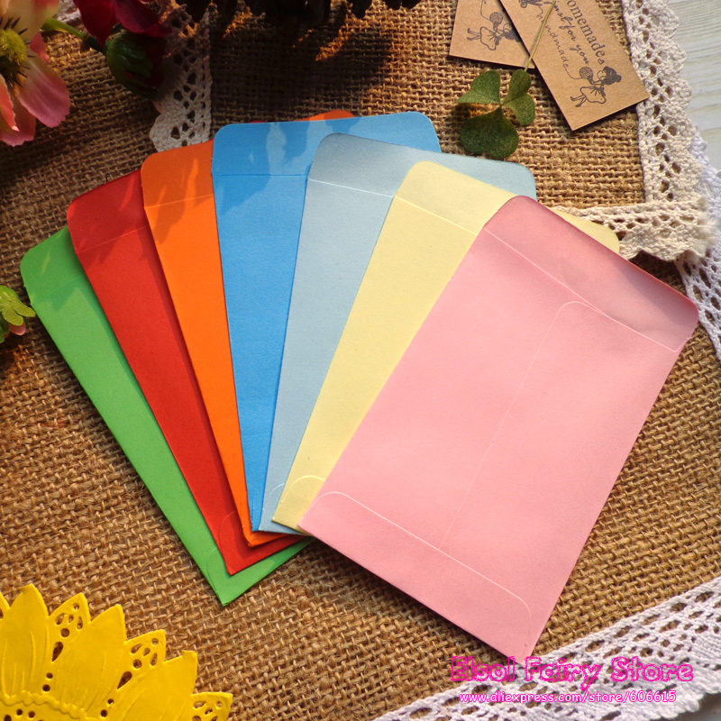 NEW! Mini Size 7x10cm, 8 Candy colors Envelopes / Paper Gift bag, Party Favor Message Mini Paper Bag 200pcs/lot Free shipping