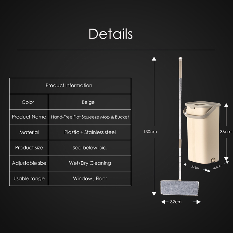 Smart Flat Dry or Wet Mop Bucket With Wringer for Home Kitchen Floor Cleaning Microfiber Mop With Self Cleaning System Bucket