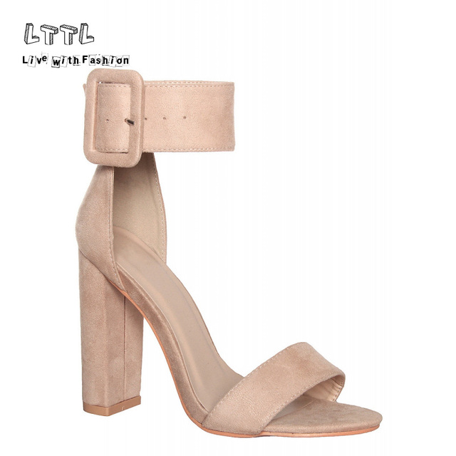 9afe705b47a LTTL Brand Black White Red Pink Nude Pumps Faux Suede Buckle Strap Block  Heels Sandals 2017 Summer Sexy High Heel Shoes Woman