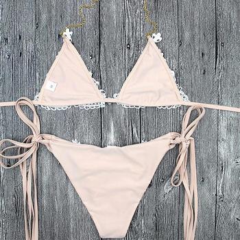 Kmnovo 2018 Crystal Bikinis Women Sexy Swimwear Swimsuit Bandage Bathing Suit Women Bikini Set Hot Beach wear 3