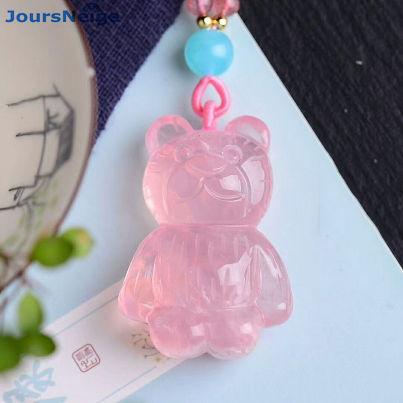 Wholesale Pink Natural Crystal Pendant Hand Carved Panda baby Pendant Sweater Chain Necklace Lucky for Women Crystal Jewelry alloy panda pendant jewelry set