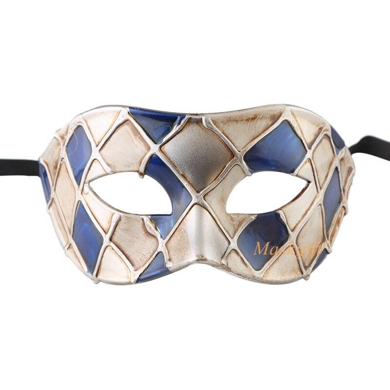 Горячая Арлекин Маскарад Танцевальная вечеринка маска уникальная мужская Венецианская проверенная маска - Цвет: blue silver