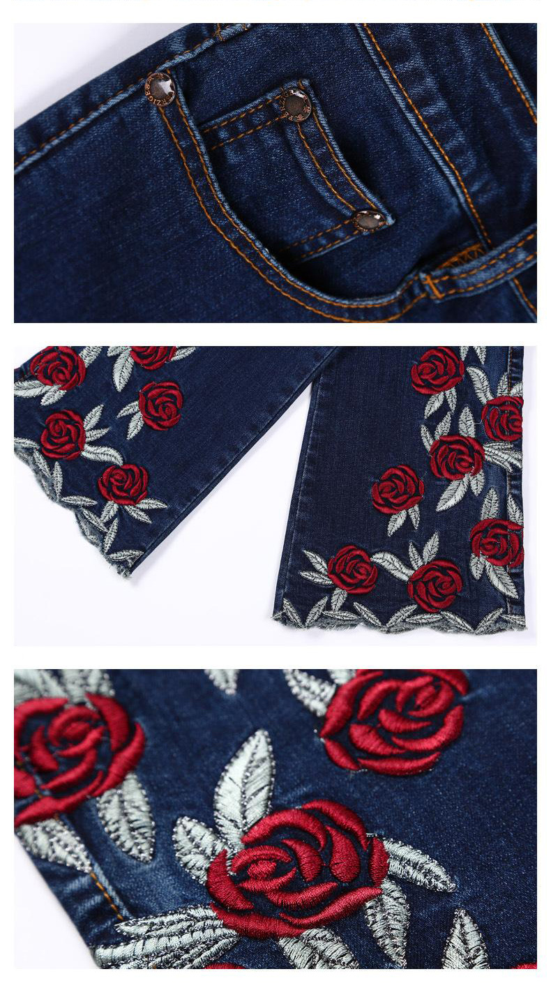 KSTUN Famous Brand 2019 Jeans for Women Floral Embroidered Elastic Boot Cut Flares Pants Casual