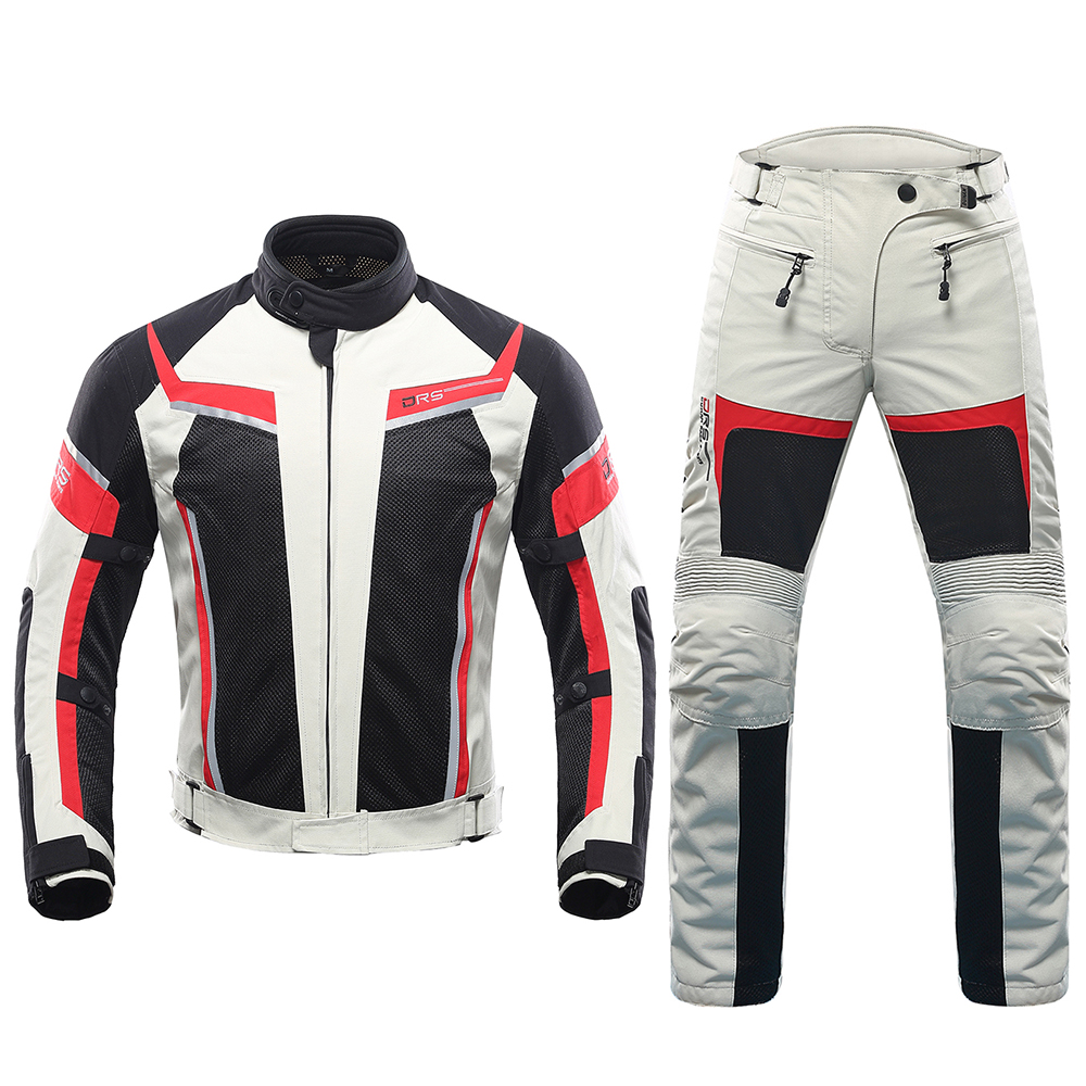 DUHAN Men Motorcycle Jacket Breathable Mesh Moto Motorcycle Pants Suit Protective Gear Spring Summer Touring Clothing Set Armor