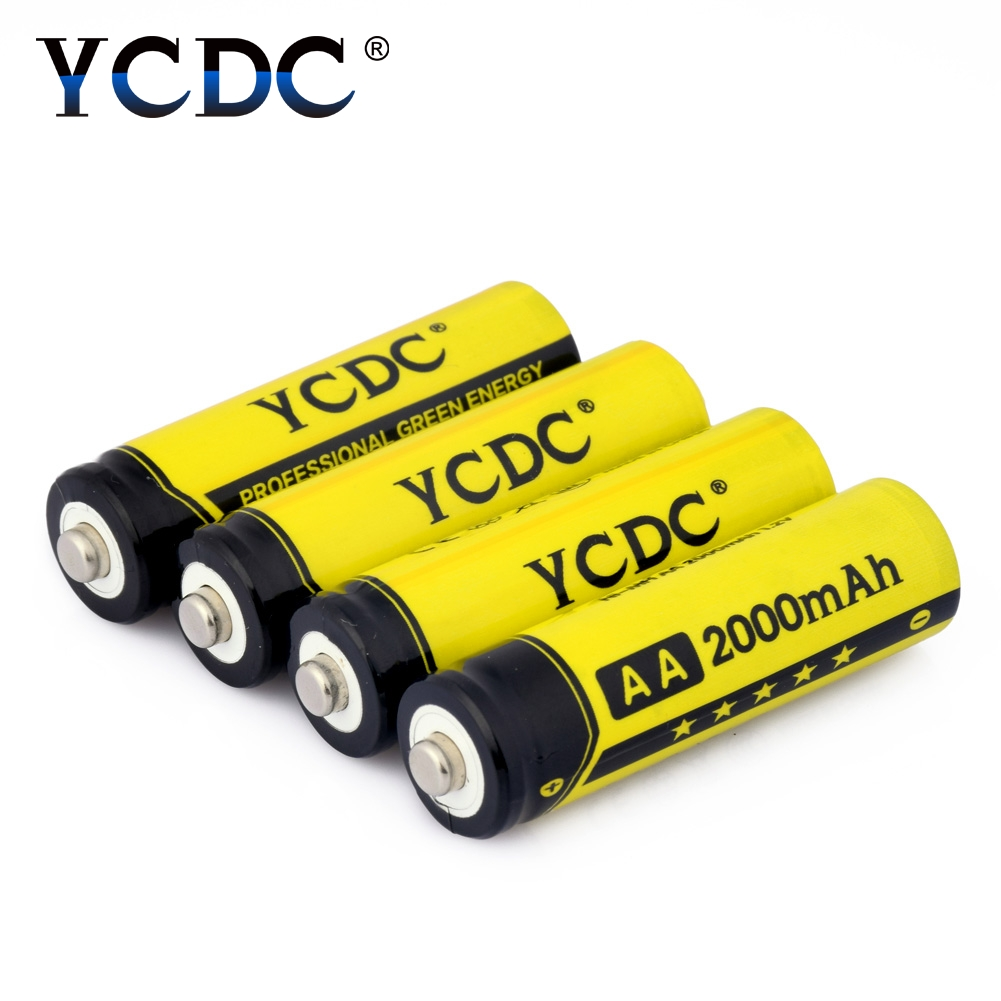 YCDC 4Pcs AA Rechargeable Battery 2000 mAh For Charger 1.2V Ni-MH flashlight Rechargeable Batteries With batery Box trustfire rechargeable 1 2v 2700mah ni mh aa battery blue white 4 pcs