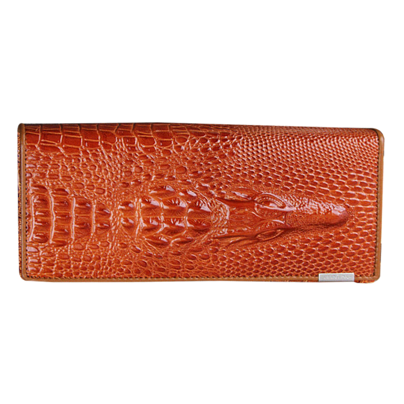 Women Wallet Female 2018 Coin Purses Holders Genuine Leather 3D Embossing Alligator Ladies Crocodile Long Clutch Wallets Orange