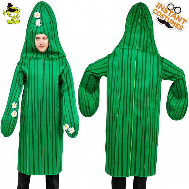 Hot Sale Men's Cactus Mascot Costume Adult's Green Cactus Plant Cosplay Carnival Party Fancy Suit  Cactus Jumpsuit