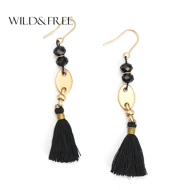 2017 Handmade Black Beaded Tassel Drop Earrings Jewelry For Women Bohemian Zinc Alloy Beads Dangle Earrings Jewelry Female Gift