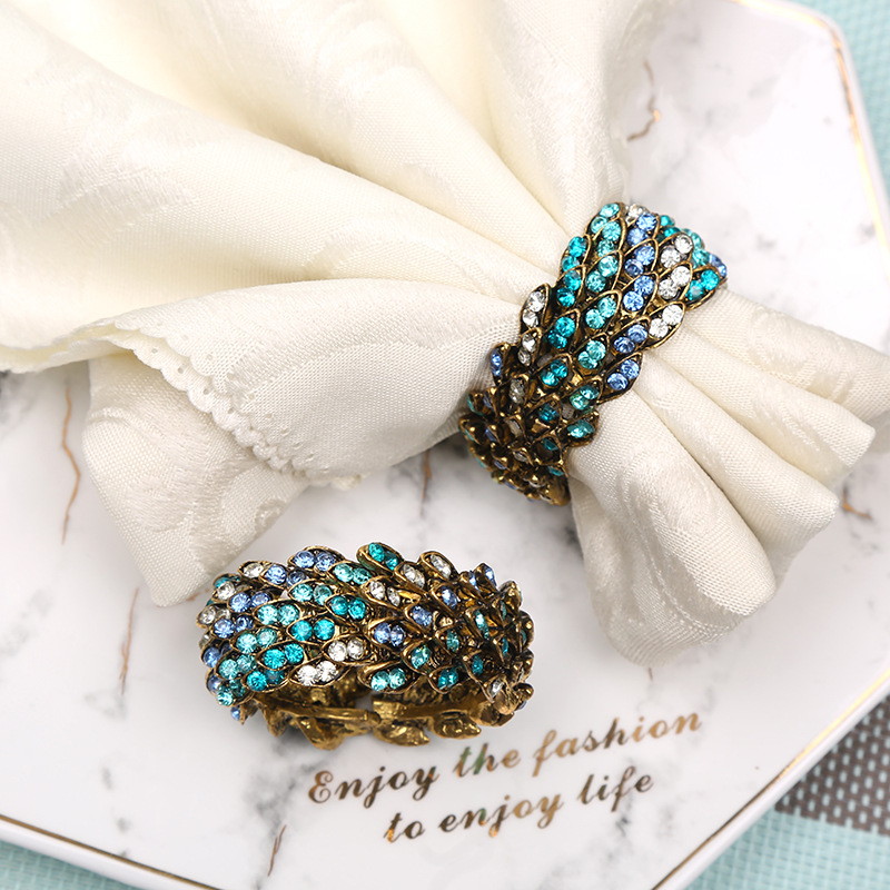 6pcs High-grade blue diamond napkin ring hotel restaurant buckle Christmas gift tableware