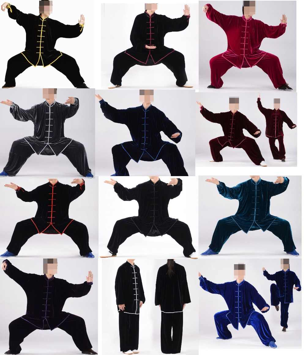 12 Kleuren Unisex Herfst & Winter Tai Chi Pakken Pleuche Kung Fu Oefening Uniformen Vechtsport Kleding Sets Top Kwaliteit grijs/Groen