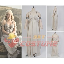 Game of Thrones Daenerys Targaryen Chiffon Evening Dress Gown Cosplay Costume Suit Halloween Party