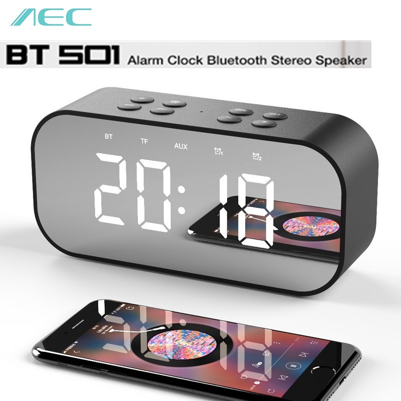 AEC BT501 Portable Wireless Bluetooth Speaker Column Subwoofer Music Sound Box LED wireless speaker with Alarm Clock mirror mirror design bluetooth speaker wireless mini alarm clock speaker car subwoofer potable wireless speaker support tf card