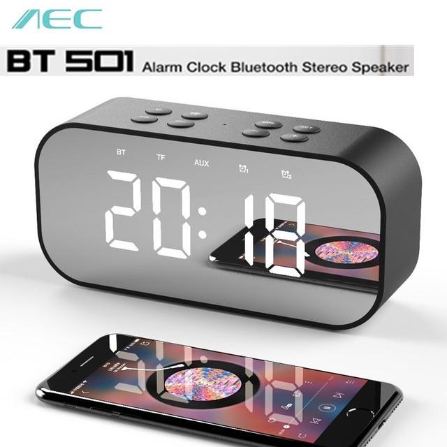 AEC BT501 portátil inalámbrico Bluetooth altavoz columna Subwoofer caja de música LED altavoz inalámbrico con alarma reloj espejo