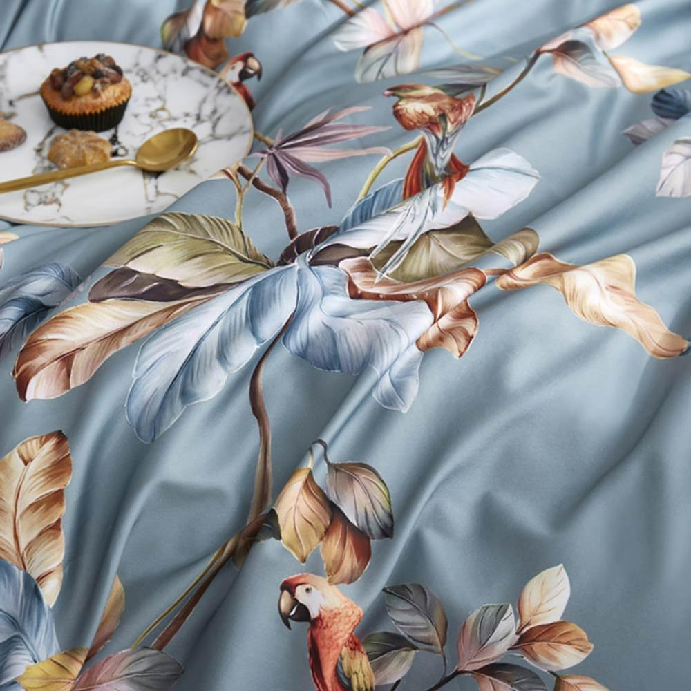 2019 Grey Brown Birds Leaves Flowers Bedlinens Egyptian Cotton Bedding Set Queen King Size Flat sheet Duvet Cover Set