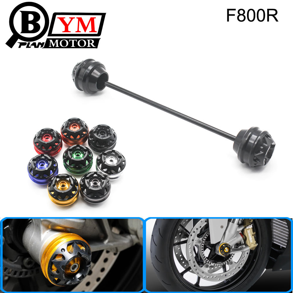Free shipping for BMW F800R 2009-2015 CNC Modified Motorcycle Front and rear wheels drop ball / shock absorber goldy белый с голубыми манжетами