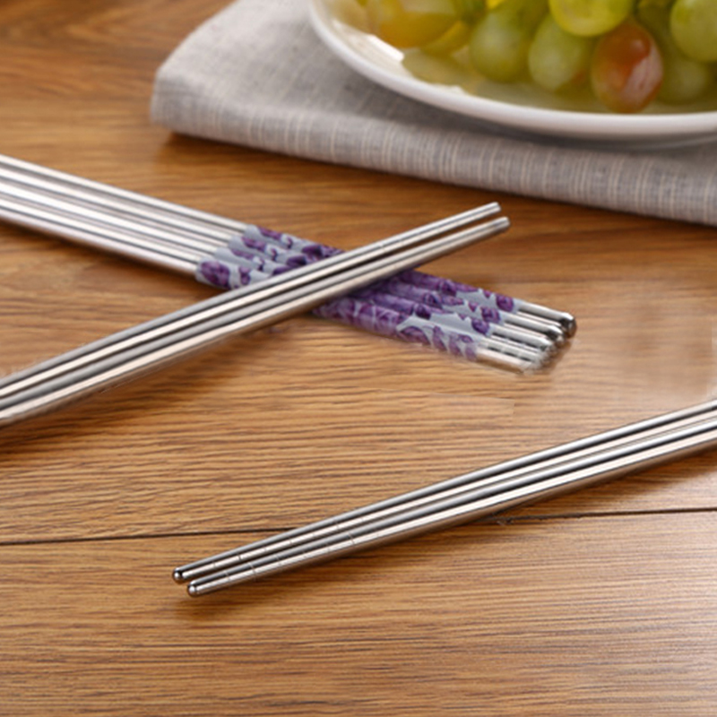 Reusable Stainless Steel Chopsticks Anti-skip Chopstick Sets Tableware 5 Pairs