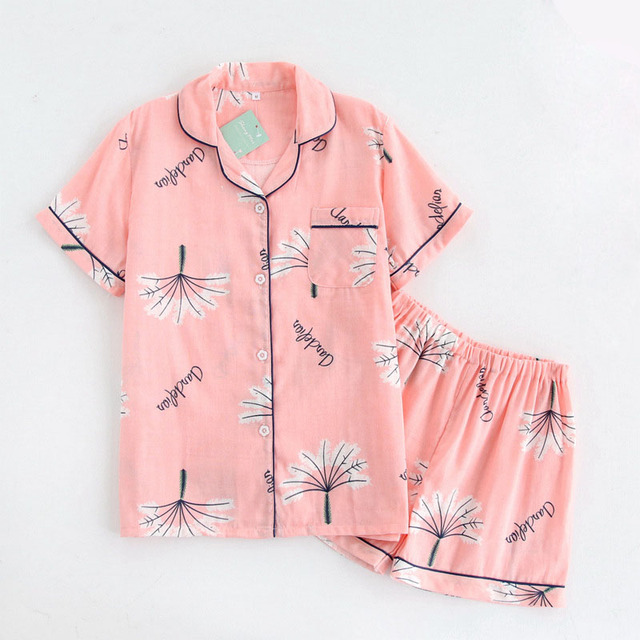 Japanese Sweet Pyjamas Women Cotton Summer Short Sleeves Pajama Sets Women Shorts Cute Dandelion Loungewear Ladies Short Shorts by Mialucce