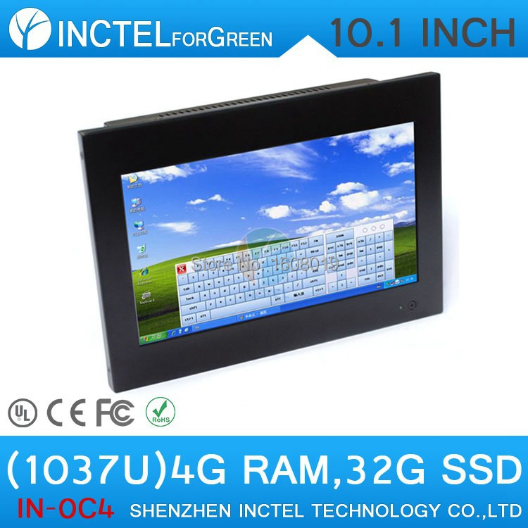 Windows based 10 1 inch 4 wire resistive touchscreen all in one computers HDMI Intel Celeron