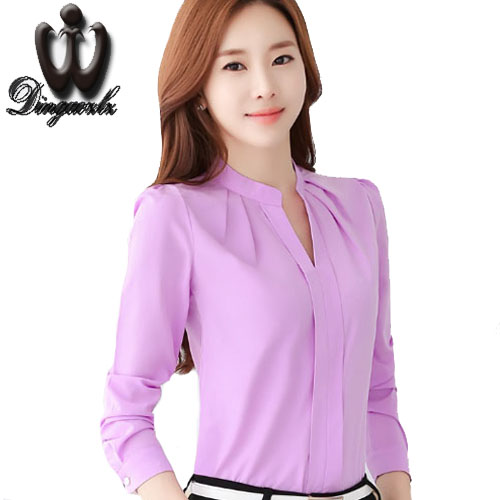 Chiffon Blouse female Workwear office shirt Slim long-sleeved White shirt Solid color Women Tops Women clothing