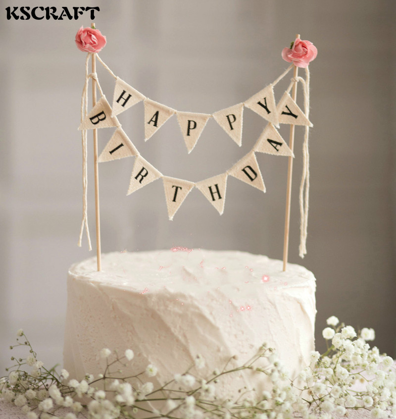 KSCRAFT Blue/Pink Flower Cake Topper Set for Kids Happy Birthday Party Decoration Supplies Baby Show Party Decoration