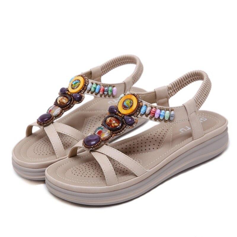 Женская обувь; коллекция 2019 года; летние сандалии на платформе в богемном стиле; женская модная повседневная обувь для свиданий - 2
